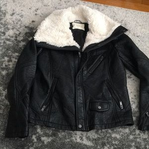 Faux leather white faux fur collar jacket